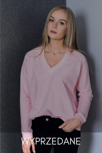 Bluza Basic V-neck Sweet Rose