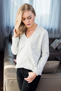 Bluza Basic V-neck Melange